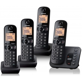 Panasonic KX-TGC224EB Quad handset DECT cordless phone system with answering machine and nuisance ca